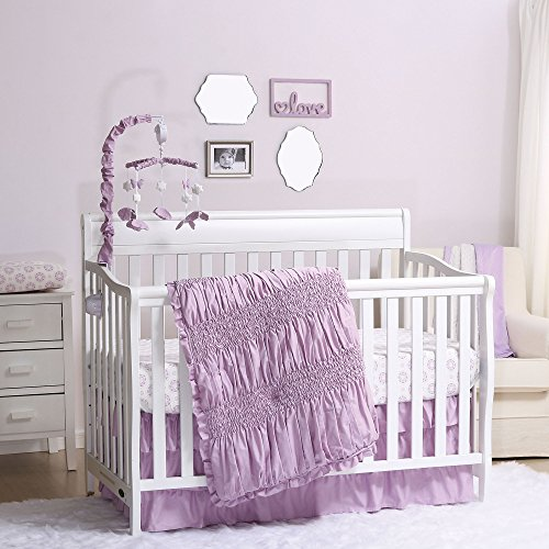 Crib Cap - Lilac Kisses Purple Baby Crib Bedding - 11 Piece Sleep Essentials Set