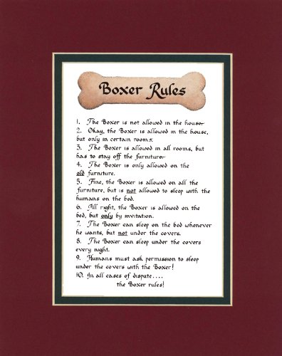 Dog Rules Boxer Wall Decor Pet Dog Saying Gift
