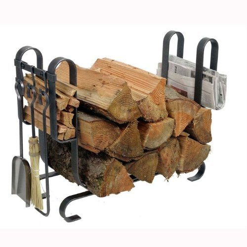 - Enclume Large Modern Log Rack with Fireplace Tools, Hammered Steel