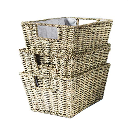 Tidy Loft Co.. - Woven Seagrass Basket Set of 3 - Fabric Lining, Baskets for Shelves with Handles, Gift Baskets, or Kitchen and Bath Organization