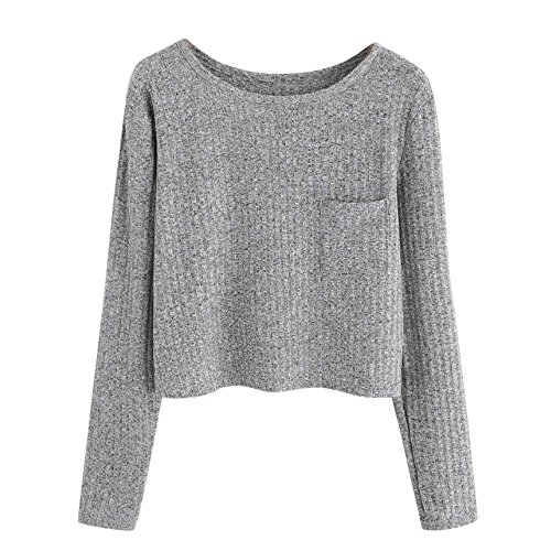 ANJUNIE Women Sweater Solid Color Shirt Patterned Ribbon Button Long Sleeve Sweatshirt(Gray,S) (Ribbon Patent)