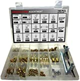 Deluxe Grease Fitting Kit - 145 Piece SAE Assortment with (3) Tools. Kit Includes Parts Below: