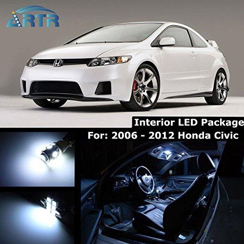 Artr Kit (1Pack ARTR Cool White Interior Lighting LED Kit for 2006-2012 Honda Civic (Map x2/Dome x1/Trunk x1/license Plate)