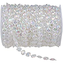 Ambox Acrylic Clear Diamond Garland Strands Crystal Beads, 1 Roll of 99 ft Acrylic Clear Crystal Like Beads Wedding Christmas Home Decorations Light Chandeliers Centerpieces Accessories