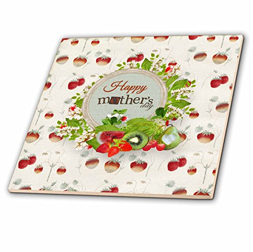 3dRose Beverly Turner Mothers Day Design - Happy Mothers Day, Strawberries, Watermelon, Kiwi, Strawberry Design - 8 Inch Glass Tile (ct_280559_7) ()