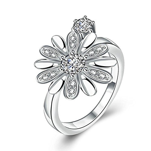 Gnzoe Fashion Jewelry Daisy Petals Crystal Silver Women Jewelry Engagement Rings Size 8