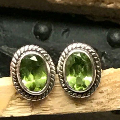 Genuine 1.5ct Apple Green Peridot 925 Sterling Silver Stud Designer Earrings 9mm (Fish Peridot)