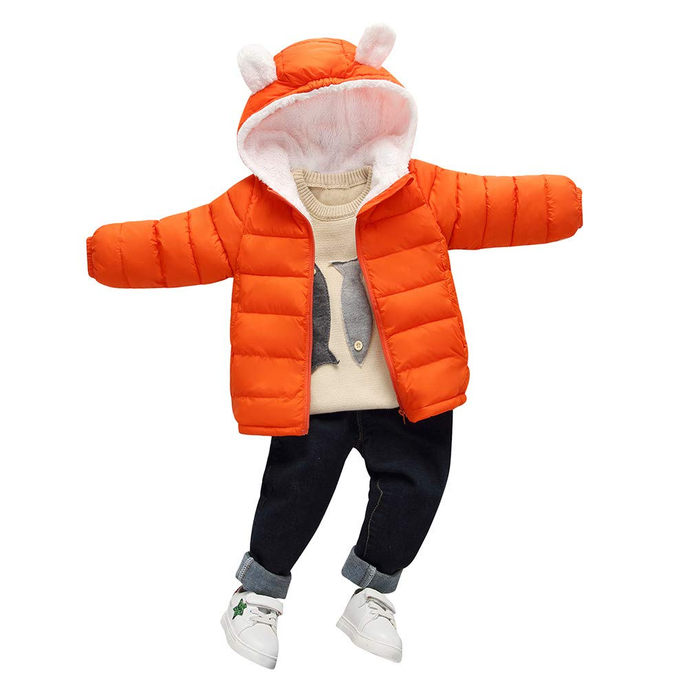 Franterd Little Girls Boys Light Jacket Plush Lining Kids Zipper Hooded Coat Cloak Warm Windproof Snowsuit