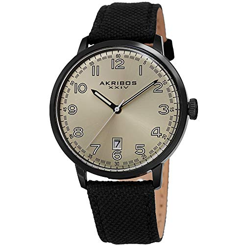 Akribos XXIV Men s Canvas Classic Watch – Clear Arabic Numeral Markers On a Comfortable Covered Genuine Leather Strap – AK1025