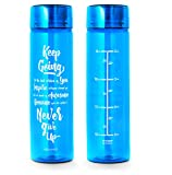 32oz Inspirational Fitness Workout Sports Water Bottle with Time Marker | Measurements | Goal Marked Times Bottle For Measuring Your H2O Intake, BPA Free Non-toxic Tritan (Aqua)