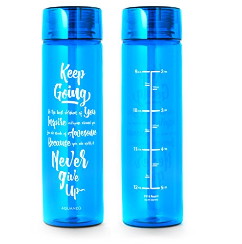 - Large 32oz Motivational Water Bottle - Time Markers Track Your Water Intake