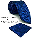 SHLAX&WING Unique Dark Blue Men's Necktie Paisley for Men Suits Tie Set