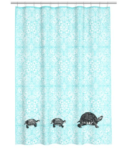 New Water Repellent Fabric Shower Curtain Aqua Turqouise Medallions And Turtle Print