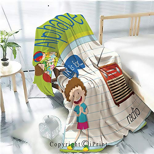 (AngelSept Printed Throw Blanket Smooth and Soft Blanket,Flashcard Letter R is for Radio for Sofa Chair Bed Office Travelling Camping,Kid Baby,W31.5 x H47.2 )