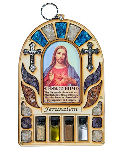 (Talisman4U Wooden Home Blessing Wall Decor Sacred Heart of Jesus Jerusalem Soil Cross Catholic Gift Holy Land)