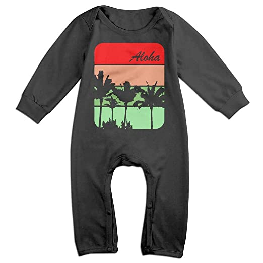 UGFGF-S3 Hawaiian Palm Tree and Sea Turtle Long Sleeve Infant Baby Bodysuit for 6-24 Months Bodysuit