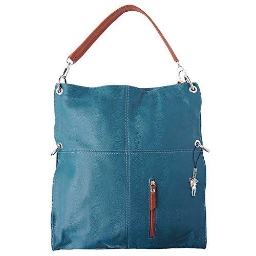 Schultertasche Umhängetasche HoboBag Leder blau Damen Handtasche Abendtasche zwei Trageriemen DrachenLeder Made in Italy OTF102B