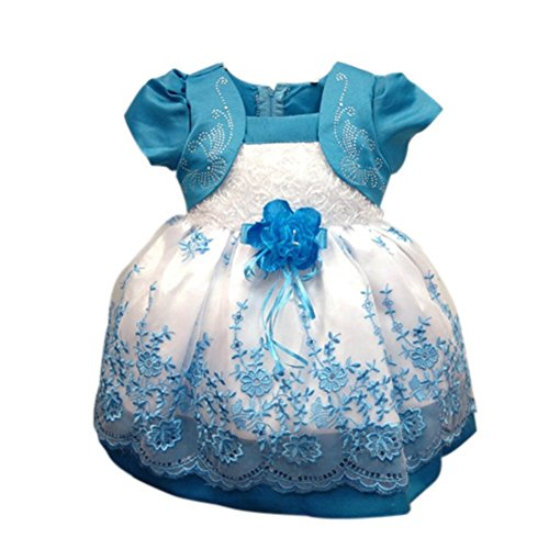Weixinbuy Baby Girls Princess Puff Sleeve Tulle Party Birthday Wedding Dresses Light Blue ()
