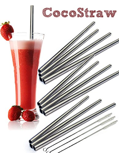 Rsvp Gadgets (12 Stainless Steel Wide Drink Straws - CocoStraw Large Straight Frozen Smoothie Straw - 12 Pack + 3 Cleaning Brushes)