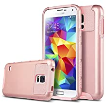 Galaxy S5 Case,Jwest [Shock Absorbent] [Impact Resistant ] Samsung Galaxy S5 Case,Rubber&Plastic Hybrid Full-Body Shockproof Drop resistant Protective Case Cover for Samsung Galaxy S5/SV I9600 Rose Gold