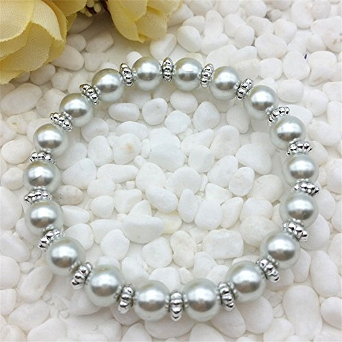 (Ransopakul Wholesale fashion jewelry silver 8mm glass pearl stretch beaded bracelet)