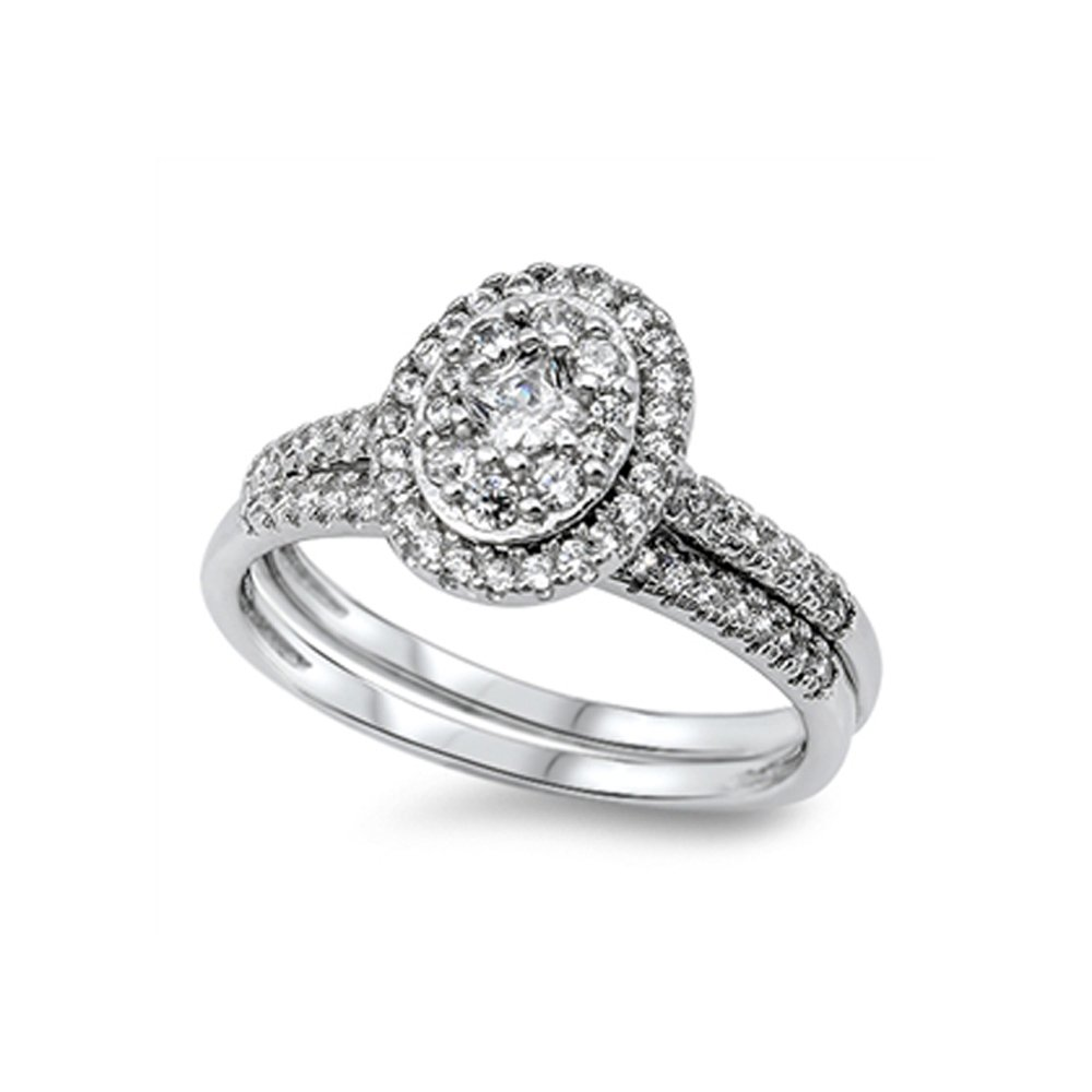.925 Sterling Silver Oval Cubic Zirconia Halo Style Bridal Engagement Wedding Ring Set
