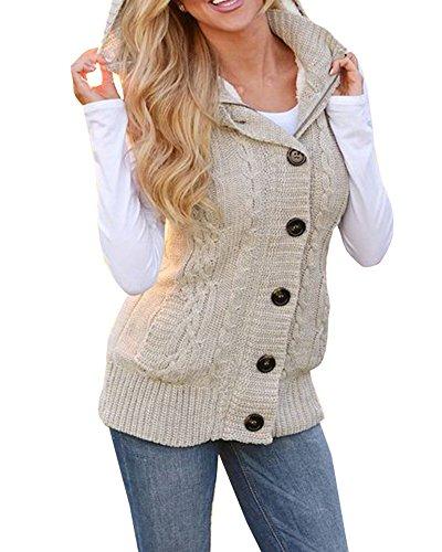 Ermonn Women Sweater Vest Unisex Sleeveless Button Down Fleece Hooded Jacket by Ermonn