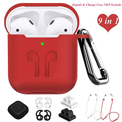 AirPods Case Compatible Apple Airpods 2&1, 9 in 1 Airpods Accessories Kits Protective Silicone Cover and Skin with Earpods Watch Band Holder/Ear Hook/Strap/Clip/Keychain/Grip[LED Visible]-Red
