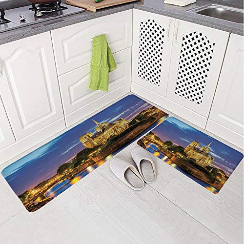 - 2 Piece Non-Slip Kitchen Mat Rug Set Doormat 3D Print,Cathedral at Dusk in Paris France Riverside,Bedroom Living Room Coffee Table Household Skin Care Carpet Window Mat,
