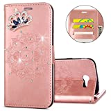 IKASEFU Galaxy J3 Emerge,Galaxy J3 Prime Case,Clear Crown Rhinestone Diamond Bling Glitter Wallet Card Holder Emboss Mandala Pu Leather Magnetic Flip Protective Cover for Samsung J3 2017,Rosa Gold