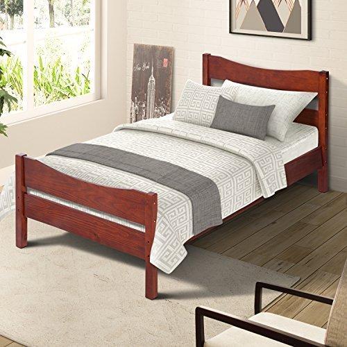 Merax Wood Platform Bed Frame with Headboard / No Box Spring Needed / Wooden Slat Support / Espresso Finish (-Walnut-) by Merax. (Image #6)