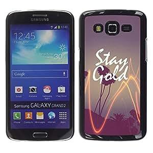 Paja de oro de California Puesta de sol de la palmera- Metal de aluminio y de plástico duro Caja del teléfono - Negro - Samsung Galaxy Grand 2