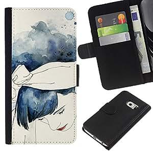 KLONGSHOP // Tirón de la caja Cartera de cuero con ranuras para tarjetas - Acuarela azul de la muchacha del pelo - Samsung Galaxy S6 EDGE //