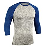 Men's Baseball Classic Long Sleeve Long Sleeve T-Shirt, Long Sleeve Baseball tee, Glomixs Men Sports 3/4 Sleeves T-Shirts Round Neck Slim Fit Simple Pullover Outdoor Casual Tops Dark Blue