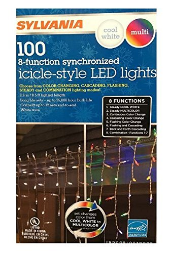 sylvania christmas lights 100 icicle style led lights 8 function color changing cool white