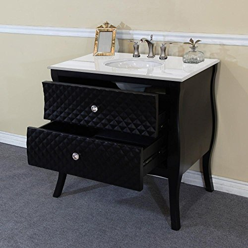 Bellaterra Home Single Sink Wood Vanity with Black and White Phoenix Stone Top with Rectanglar Sink, 35.4