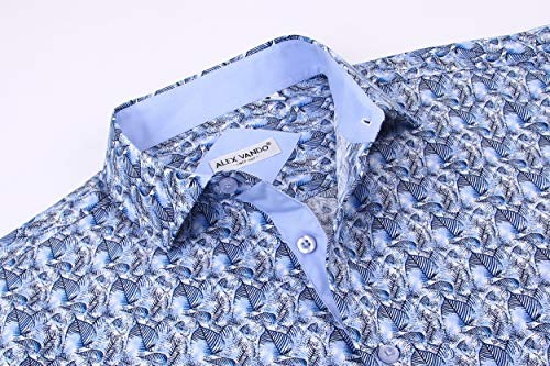 Alex Vando Mens Dress Shirts Casual Regular Fit Short Sleeve Shirts 17