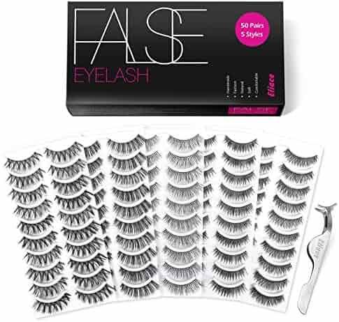 6eb3fe80beb Eliace 50 Pairs 5 Styles Lashes Handmade False Eyelashes Set Professional Fake  Eyelashes Pack,10