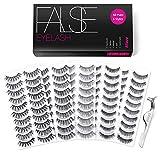 Eliace 50 Pairs 5 Styles Lashes Handmade False Eyelashes Set Professional Fake Eyelashes