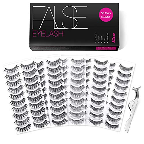 Eliace 50 Pairs 5 Styles Wispies Fake Lashes with Tweezers (The Best Lashes)