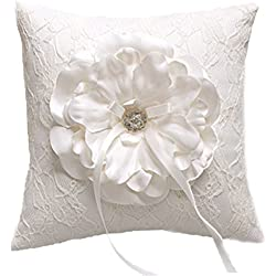 Vivivalue Rhinestone Large Satin Ring Pillow Ring Bearer Pillow Cushion Embroidered Wedding Bridal Ivory White