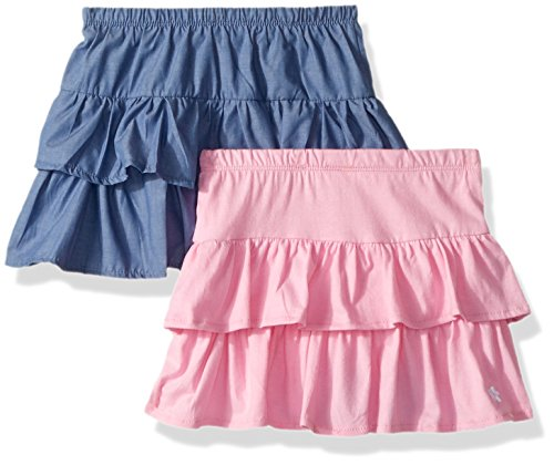 Cotton Skort Girl - Limited Too Girls' Toddler 2 Pack Shirt, Chambray Blue Jersey Skort Prism Pink, 2T