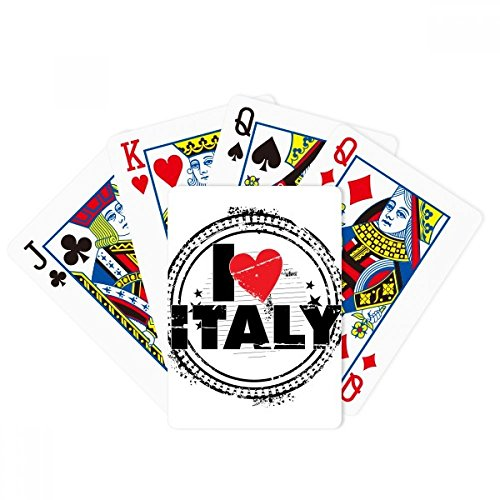 I Love Italy Word Love Heart Circle Stamp Poker Playing Cards Tabletop Game Gift by beatChong