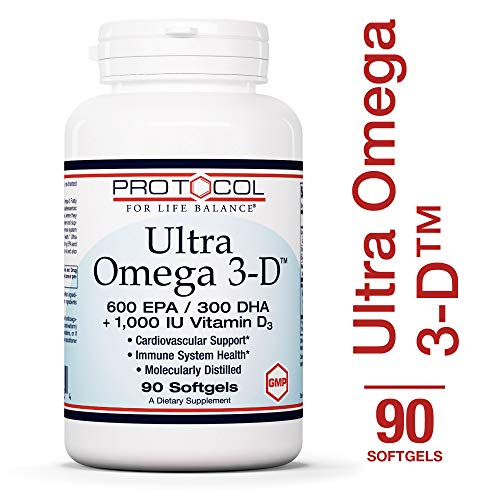 Protocol For Life Balance - Ultra Omega 3-D™ - 600 EPA / 300 DHA + 1,000 IU Vitamin D3 for Cardiovascular Support & Immune System Health - 90 Softgels