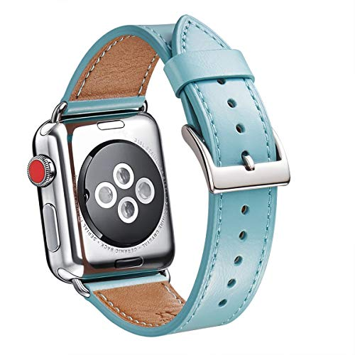 WFEAGL Compatible iWatch Band 38mm 40mm, Top Grain Leather Band Replacement Strap for iWatch Series 5,Series 4,Series 3,Series 2,Series 1,Sport, Edition(Tiffany Blue Band+Silver Adapter 38mm 40mm)