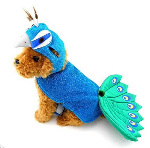 SELMAI Blue Peacock Pet Costumes with Hat Dog Coat Cape Small Girl Boy Puppy Clothes Adjustable