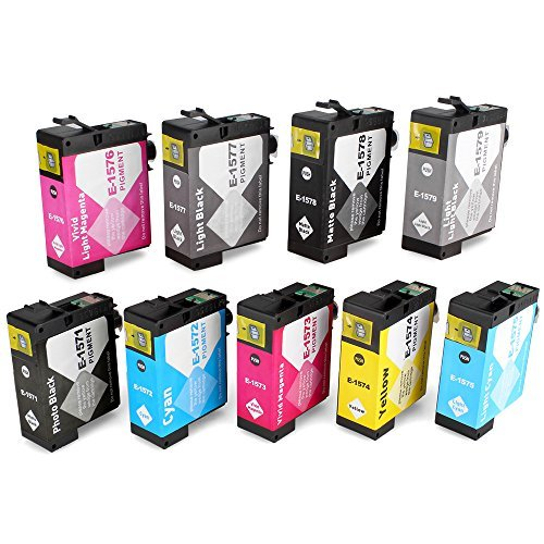JARBO 9 Pack Replacement for Epson Stylus Photo R3000 Ink Cartridge(Epson 157 ink cartridge) MK PK CY MG YL LC LM LK LLK T1571 T1572 T1573 T1574 T1575 T1576 T1577 T1578 T1579 cartridges