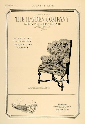 1927 Ad Hayden William Mary Wing Chair Furniture Fabric - Original Print Ad