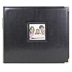 "3-Ring Photo Binder Album With Sewn Leatherette Frame, Acid-Free, 12 x 12"" Inserts (BLack)"