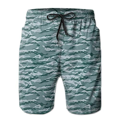 Men's Casual Swim Trunks Marines Tiger Stripe Camouflage Gifts Blue Beach Shorts with Elastic Waist ()